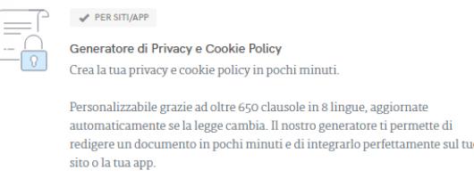 Generatore di Privacy e Cookie Policy